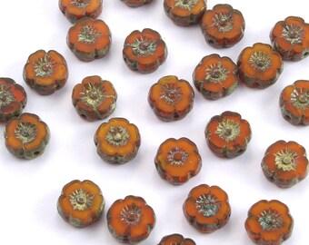 Hibiscus Flowers 8mm-9mm Orange Opaline Picasso Czech Glass Beads - 12