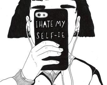 I hate my self-ie A4 print (white)