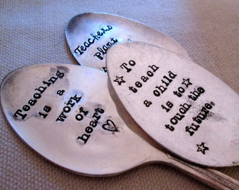Teacher Gift - Teacher Appreciation 3 pack - Teachers hand stamped spoon - plant marker - Garden Stampings  - Inspirational Gift