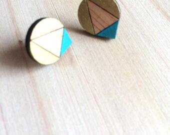 Hand Painted Laser Cut Wood Geometric Droplet Pattern Stud Earrings- Gold & Teal