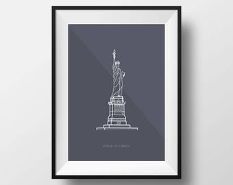 Statue of Liberty Digital Illustration Print