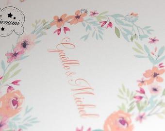 G & Michel wedding invitation