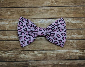 Pink Leopard Fabric Bow