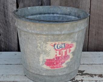 Vintage Galvanized Metal Bucket #10 Wire Handle Pail Partial Label Rusty Garden Primitive Rustic Farmhouse Storage Decorative