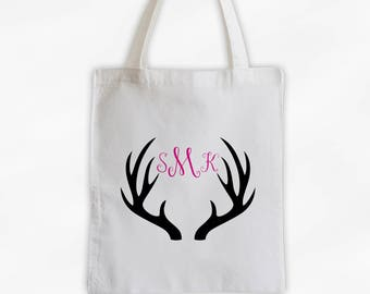 Antler Monogram Cotton Canvas Personalized Tote Bag - Initials Deer Silhouette Custom Gift in Hot Pink and Black  (3043)