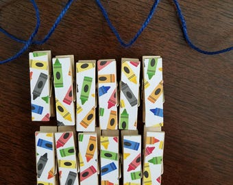 Primary Crayons, Preschool, Back to School, Chunky Little Clothespin Clips w Twine, Set of 12, Kid Birthday, Paint Party, Gifts Under 10