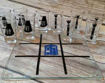 Shot glass tic tac toe game, doctor who, dr who, sonic screwdriver, police box, dalek, drinking game, fandom, time lord, tardis, geeky gift