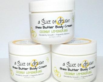 Coconut Lemongrass Shea Butter Body Cream, Body Cream, Shea Butter Cream, Moisturizer, Gift for Her