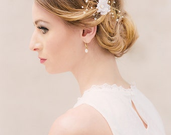 Bridal silk flower Alba Rose wired Louise