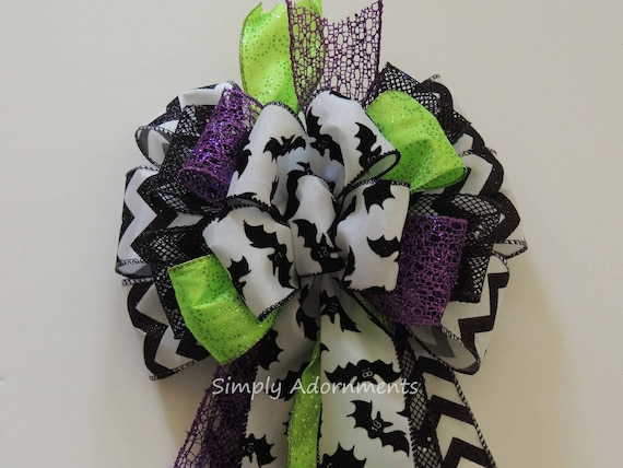 Black Green Purple Halloween Bow Black Bat Wreath Bow Halloween Bat Bow Halloween Door Hanger Decor Multicolored Halloween Party Decorations