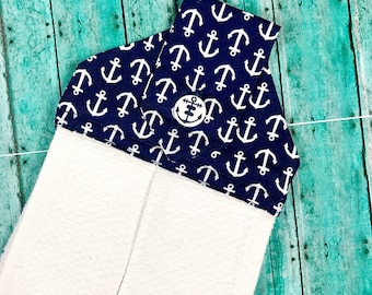 Anchor hanging hand towels, nautical towels, white hand towel, summer kitchen towels, spring towels, white hand towels, button towels