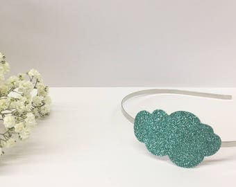 Green glitter cloud headband