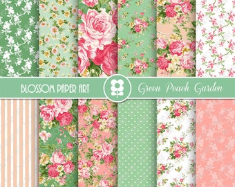 Digital Papers, Pink, Green Floral Digital Paper Pack, Scrapbooking Rose Papers - INSTANT DOWNLOAD  - 1933