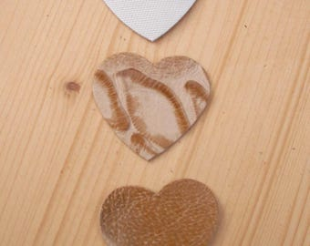 set of 3 hearts #8 leather