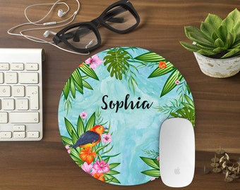 Personalized Mouse Pad, Mousepad Floral Watercolor Mouse Mat Custom Mouse Pad Office Mousemat Rectangular Personalized Mousepad Round T80994