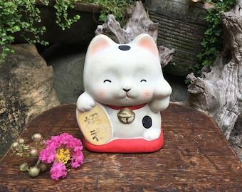 Japanese Bisque Porcelain Figurine 招き猫 Maneki Neko Beckoning Cat Good Luck Charm Coin Bank Okimono