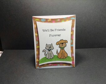 Friendship Card with Gray Cat and Brown Dog , Friends Furever Card , Dog Card