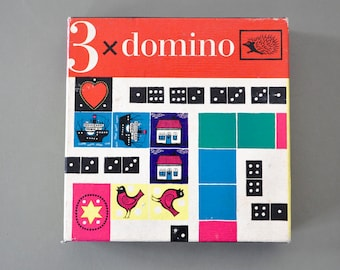 Vintage domino game | 1960s toy | vintage children's gift | vintage dominoes | retro toys | vintage birthday gift | midcentury design