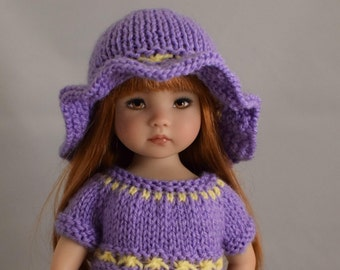 "4. Dress & Hat - PDF Knitting Pattern for Dianna Effner 13"" Little Darling Dolls"