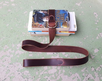 Leather Book Belt with Nickel Hardware