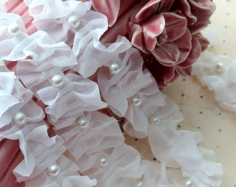 3 yards WHITE Chiffon Fabric Embroidery Lace Trim  with Pearl beads bridal wedding bridesmaid headband skirt dress