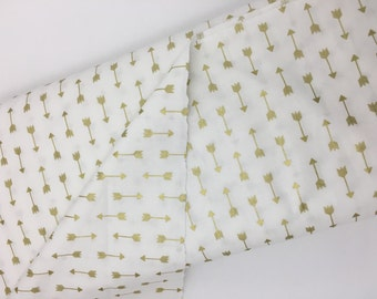 Gold Arrows, Off-white fabric, Gold nursery, Gold decor, Gold fabric, Gold Arrows, Fabric by the yard, Gold home decor, 100% cotton