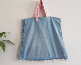 "SECONDS The ""Deana"" tote bag denim and pink"