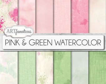 "Watercolor digital papers ""Pink & Green WATERCOLOR"" watercolour, Painted, Pink,Watercolor backgrounds, for Photographers, Scrapbookers, etc"