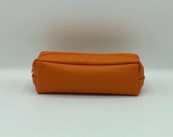 Square Orange leather clutch