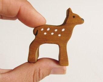 Wooden Fawn figure Waldorf Wood Deer Toy