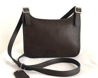 Coach Mini Hippie Flap in Dark Espresso Brown Leather Style 9142
