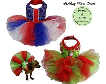 PRINTED Holiday Tutu Sewing Pattern, Dog Tutu Sewing Pattern PDF, Dog Dress Pattern, Dog Clothes Pattern, Dog Tutu Pattern