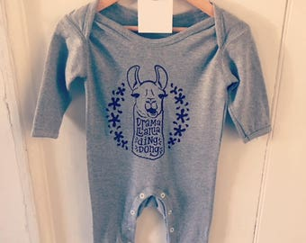 Screen Printed Llama Romper Baby Suit 3-6 Months