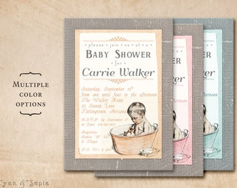 Vintage Baby Bathtub - Printable 5x7 Shower Invitation - Gray Peach Orange Pink Blue - Antique 1910s Illustration Storybook Bath Bathtime