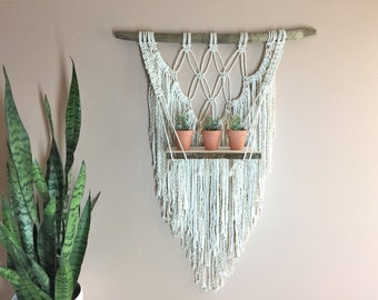Macrame Shelf Floating Shelf Wall Hanging Decor Driftwood Boho Bohemian Macrame Plant Hanger Large Dorm Living Room Apartment Living Wall