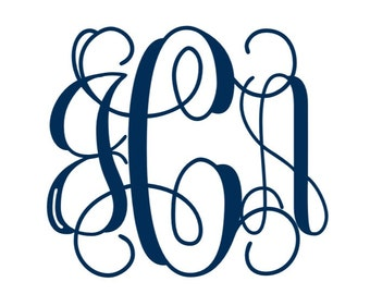 "2"" Monogram Decal, Monogram Phone Decal, Small Monogram Decal, Vinyl Decal"