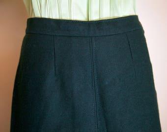1940s forest green wool A line skirt