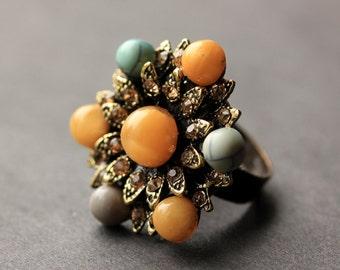 Button Ring. Rhinestone and Gemstone Button Ring. Bronze Button Ring. Vintage Button Ring. Handmade Jewelry.