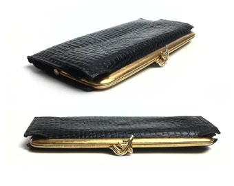 1960s Wallet Black Wallet Black leather wallet Checkbook Wallet Women Bags Purses Wallets / Vintage / Accessories Wallets / embossed leather