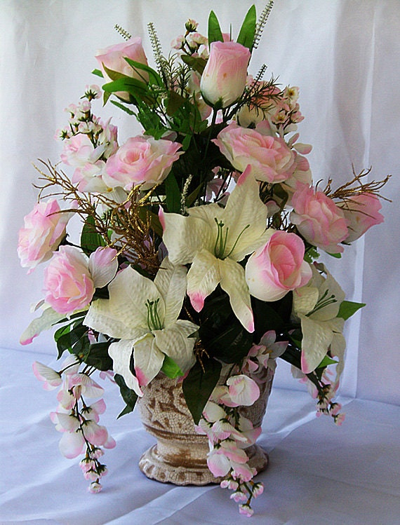 Centerpiece light pink ivory silk flower arrangement mothers mightylinksfo