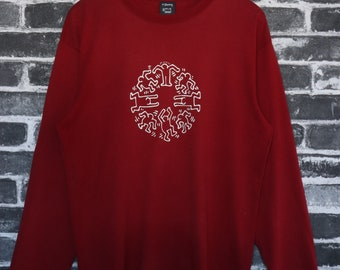Vtg Keith Haring Long Sleeve T shirt Red Happy and freedom buddy Cycle world Peace Message by New York Artist Street wear/Art day Size L