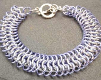 Light Weight Lavender Anodized Aluminum European Chainmaille Bracelet