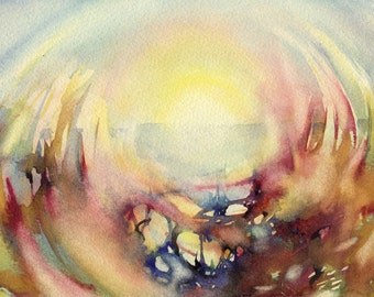 """Print of watercolor painting - sun painting - """"Sun through grass"""", paper"""