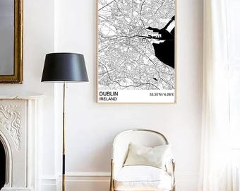 Dublin City Map Print, Custom Map Print, Street Map, Black & White, Dublin Map, Personalised Map Print, Map Wall Art, City Map Print