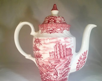 English Ironstone Coffee Pot Olde Country Castles British Ironstone   Red Transferware