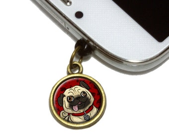 Pug Sticking Out Tongue Cell Mobile Phone Jack Charm Fits iPhone Galaxy HTC