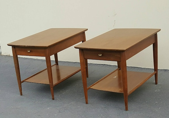 MERSMAN Solid Walnut End Tables Vintage Walnut End Tables Mid