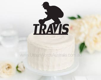 Birthday Cake Topper with Custom Name - Cricket, Sports, Bowler