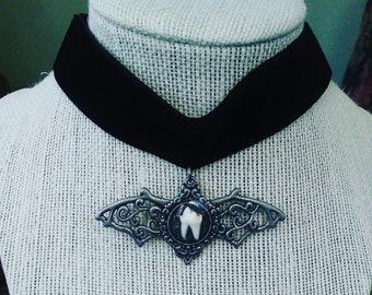 Raccoon tooth black velvet bat choker
