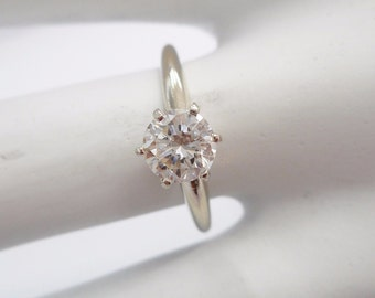 Diamond Ring, Diamond Solitaire, Engagement Ring, Wedding Ring, 14k White Gold .71 Carat Round Brilliant Diamond Solitaire Ring ~SI1 H~ #970